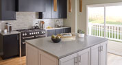 Flint Rock | Solid Surface Kitchen | features large translucent chips