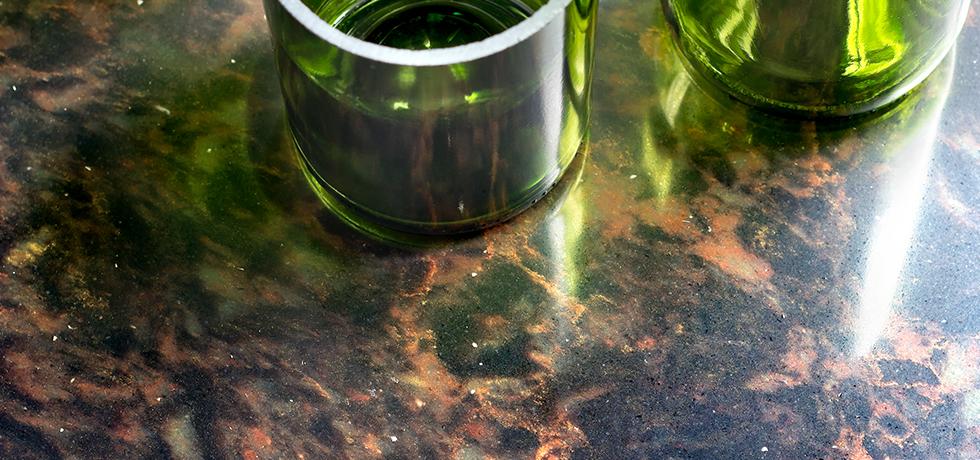 Application Gaudi Quartz Countertop With Glass