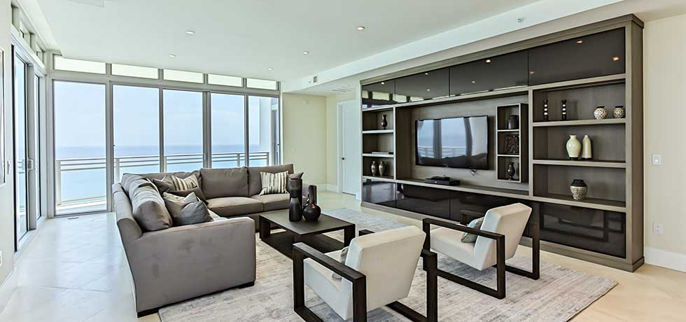 Application miami diplomat condo sleek modern living room for Sleek living room