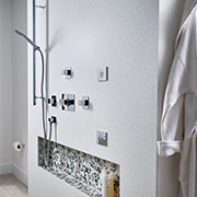 Large, Luxurious Walk-In Shower Detail | Solid Surface | Morning Ice